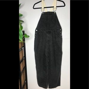Gap faded pinstripe removable suspenders overalls